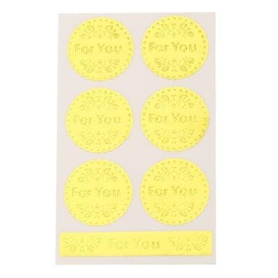Самозалепващи стикери кръг и дума 40 мм цвят злато -7 броя