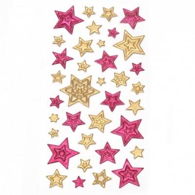 Самозалепващи стикери 3D звезди 10~35x10~35 мм