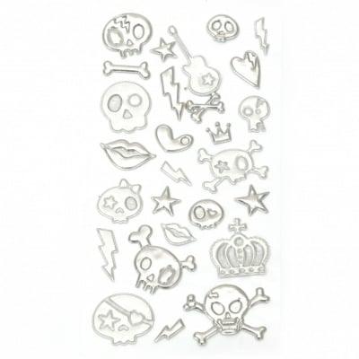 Самозалепващи стикери 3D черепи 5~28x10~40 мм
