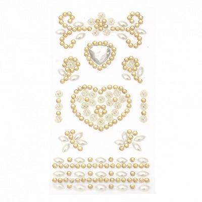 Самозалепващи камъни акрил и перла Сърца цвят бял и злато