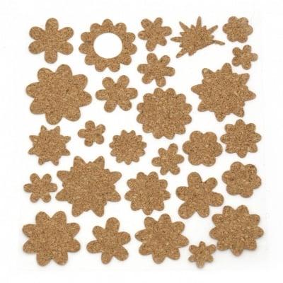 Самозалепващи стикери корк 15~35x15~35 мм Цветя - 27 броя