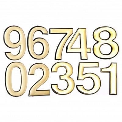 Самозалепващи стикери 95 мм цифри цвят злато - 10 броя