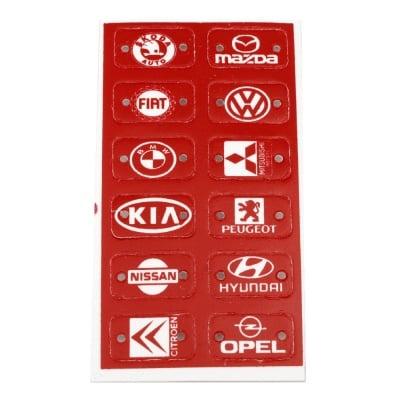 Плочка с лого на автомобили 32x18 мм отвор 3 мм червена -12 броя