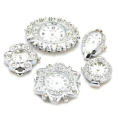 Часовник метал цвят сребро кристали 29~37x22~48x8 мм. отвор 1~2.5 мм. АСОРТЕ