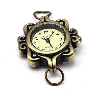 Часовник метал цвят античен бронз 32x28x8 мм. отвор 8 мм.