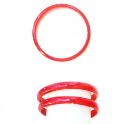 Гривна пластмаса с брокат гладка 9 мм диаметър 64 мм Червена -12 броя