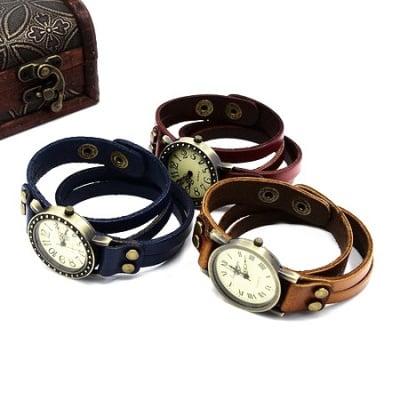 Часовник естествена кожа метал цвят античен бронз 415x16x3 мм. АСОРТЕ