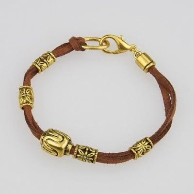 Гривна Тибетски стил велур метал цвят злато 190 мм. кафява
