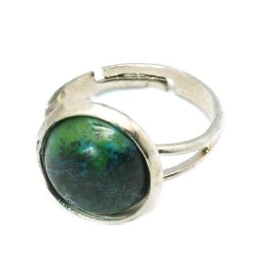 Метален пръстен със синтетичен Тюркоаз 12x24 мм 16.5 мм зелен тъмен
