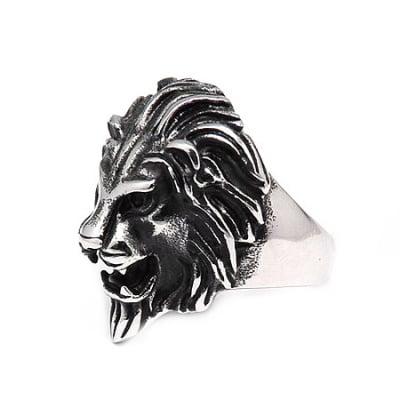 Пръстен стомана цвят антично сребро Лъв 17±23 мм.