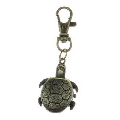 Ключодържател часовник отварящ метал цвят античен бронз 85 мм. костенурка