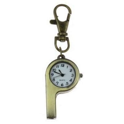 Ключодържател часовник отварящ метал цвят античен бронз 85 мм. свирка