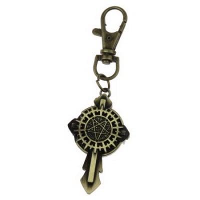 Ключодържател часовник отварящ метал цвят античен бронз 90 мм. кръст