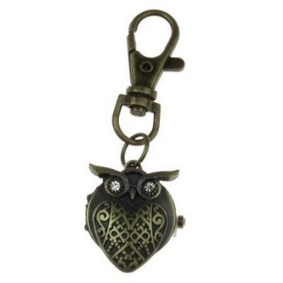 Ключодържател часовник отварящ метал цвят античен бронз кристали 70 мм. бухал