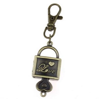 Ключодържател часовник отварящ метал цвят античен бронз 90 мм. куфар