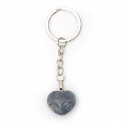 Ключодържател метал сърце естествен камък 87 мм АСОРТЕ