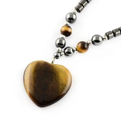 Гердан естествен камък ХЕМАТИТ немагнитен с висулка ТИГРОВО ОКО сърце -21±24 см