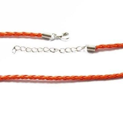 Гердан кожа 420x3 мм със закопчалка тип щъркел плитка оранжев