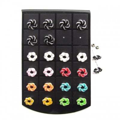 Обеци метал цветни кръгла 12 мм.