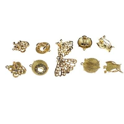 Обеци метал цвят злато кристали 20±28x12±18x9±13 мм. АСОРТЕ