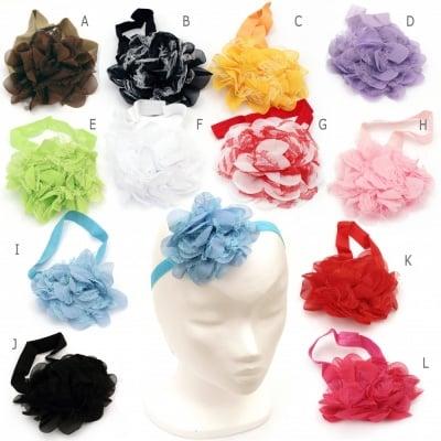 Лента за коса еластична 18 см ластик 16 мм цвете 110 мм АСОРТЕ