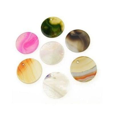 Висулка естествен камък АХАТ АСОРТЕ цветове паричка 30x2 мм