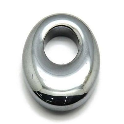Висулка естествен камък ХЕМАТИТ немагнитен 25x18x6 мм дупка 8x10 мм