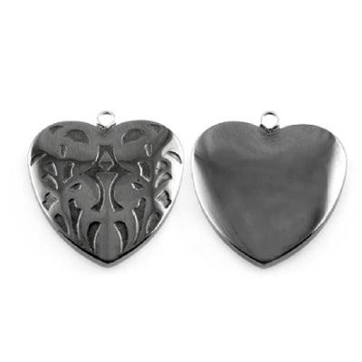 Висулка естествен камък ХЕМАТИТ немагнитен клас А сърце 25x25x7 мм дупка 1 мм