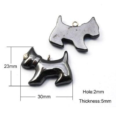 Висулка естествен камък ХЕМАТИТ немагнитен клас А куче 23x30x5 мм дупка 2 мм