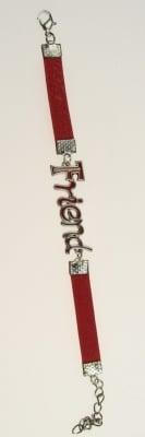 Гривна мартеница кожа изкуствена метална плочка FRIEND 6 броя