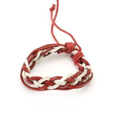 Гривна мартеница кожа естествена и шнур памучен червен 12 броя