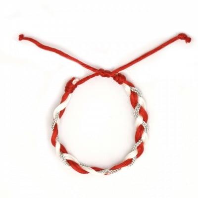 Гривна мартеница копринен шнур ламе плетена 10 броя