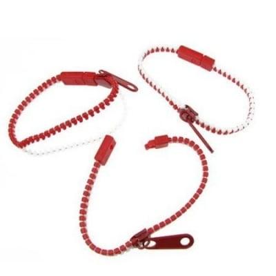 Гривна цип метал пластмаса бяло и червено