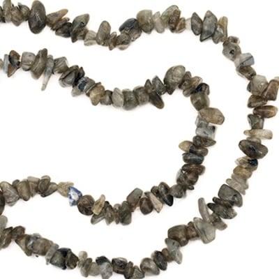 Наниз полускъпоценни камъни чипс 5-7 мм ~90 см Лабрадорит