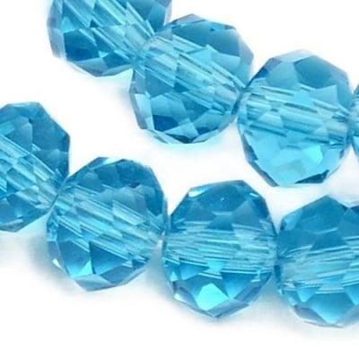 Наниз мъниста кристал 8x6 мм дупка 1 мм прозрачен циан ~72 броя