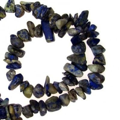 Наниз естествени камъни чипс 8-12 мм ~90 см ЛАЗУРИТ