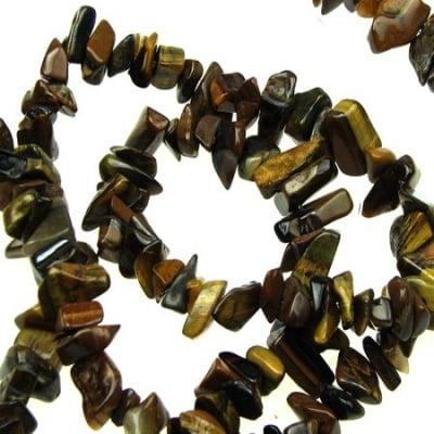 Наниз полускъпоценни камъни чипс 5-7 мм ~90 см ТИГРОВО ОКО