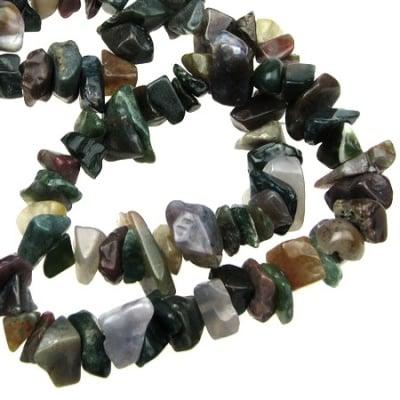Наниз естествени камъни АХАТ ИНДИЙСКИ чипс 8-12 мм ~90 см