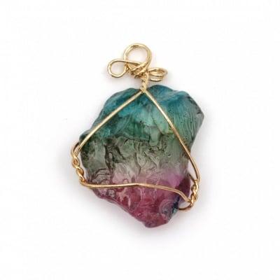 Висулка естествен камък синтетичен оцветен АСОРТЕ 20~35x40~70 мм с обков цвят злато