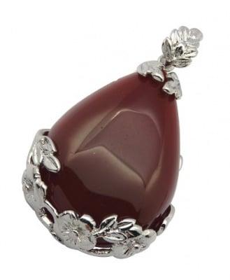 Висулка естествен камък АХАТ червен 27x46x8 мм дупка 4 мм