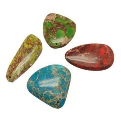 Висулка естествен камък ЯСПИС (Aqua Terra Jasper) 23~45x44~60x6~7 мм дупка 1 мм