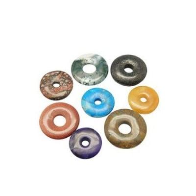 Висулка естествен камък АСОРТЕ КРЪГ 20~25 мм дупка 5~7 мм