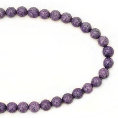 Гердан естествен камък ТЮРКОАЗ синтетичен лилав топче 8 мм -22см