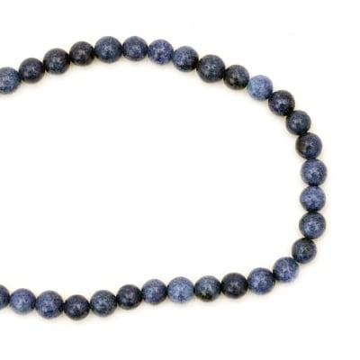 Гердан естествен камък АХАТ синтетичен син топче 6 мм -22см