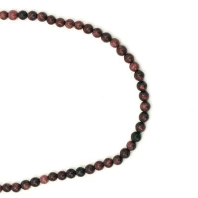 Гердан естествен камък АХАТ синтетичен червен топче 6 мм -22см
