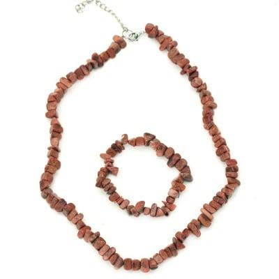 Коплект гердан гривна естествен камък ЯСПИС