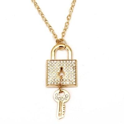 Гердан метал цвят злато кристали катинар 50 мм. 43 см.