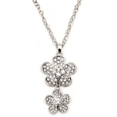 Гердан метал цвят сребро кристали цветя 70 мм. 42 см.