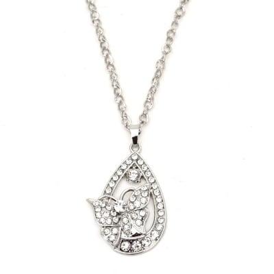 Гердан метал цвят сребро кристали капка с пеперуда 55 мм. 40 см.