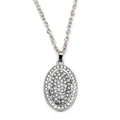 Гердан метал цвят сребро кристали овал 55x34 мм. 41 см.